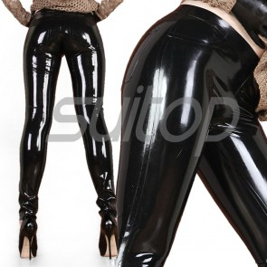 Suitop casual women's rubber tight pants latex trousers in black color