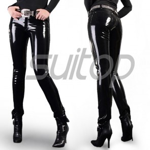 a8ef2e7254516b Suitop fashion women's rubber pants latex trousers without belt in black  color