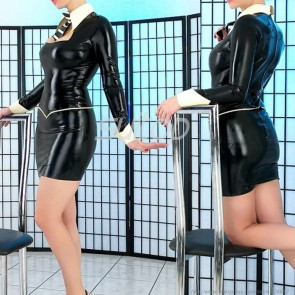 Sexy party rubber latex tight dress in black color for women