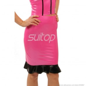 Sexy rubber latex tight skirt with back zip in metallic pink color for lady