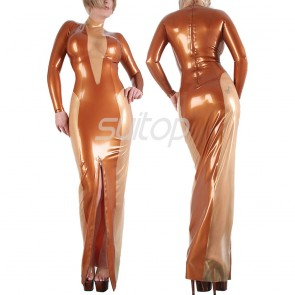 High neck rubber latex long sleeve tight dress in metallic brown color for lady