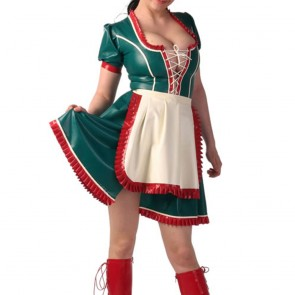 Suitop new arrival women's rubber latex maid uniform dress with apron main in dark green with red trim color