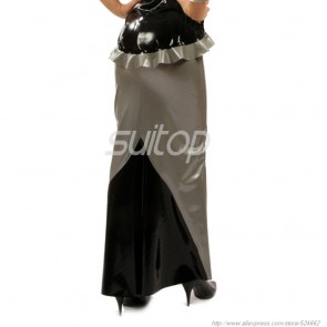 Casual rubber latex long skirt in gray color for women