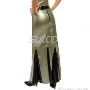 Casual rubber latex long skirt with back zip in metallic gray color for women