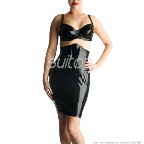 Sexy rubber latex high-waisted skirt in black color for women