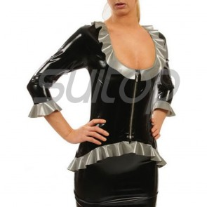 Suitop high quality women's rubber latex long sleeve blouses with front zip in black with gray trim color