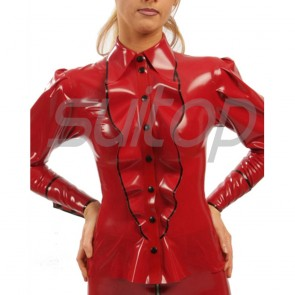 Suitop casual women's rubber latex long sleeve tight blouses in red with black trim color