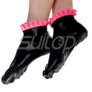Suitop rubber latex socks with red flower trim main in black color for women