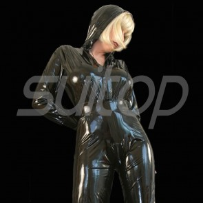 Suitop super quality women's rubber latex long sleeve catsuit attached crotch zip with cap in black color