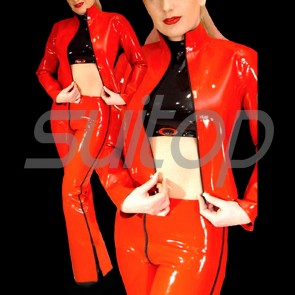 Suitop shiny women's rubber latex long sleeve jacket with black front zip in red color