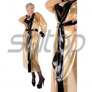 Suitop super quality women's rubber latex long sleeve coat in metallic gold with black trim color
