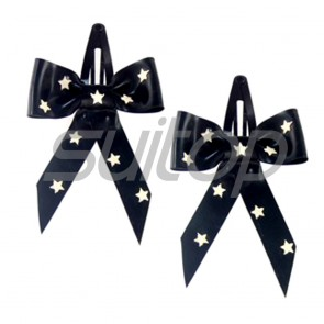 Suitop lovely rubber latex stars bowknots accessories in black color
