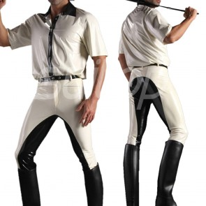 Suitop men's male's rubber latex short sleeve shirt and pants main in white with black trim color