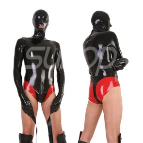 Suitop men's male's rubber latex catsuit attached crotch zip and hood in black with red trim color