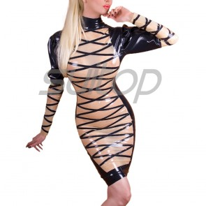 Suitop sexy women's female's rubber latex long sleeve stripes dress with back zipper main in transparent with black trim color
