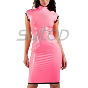 Suitop sexy women's female's rubber latex short sleeve dress with back zipper in pink color