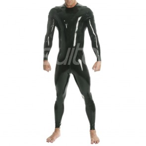 Suitop men's male's catsuit with crotch zip only (from navel to waist back) neck entry in black color whole sales