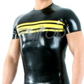 men's latex short sleeve t-shirt with round neck in black and yellow trim (whole sell mini order 10 pcs)