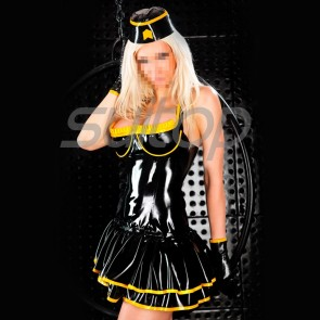 Suitop super quality women's female's rubber latex open bust halter dress with cap main in black with yellow trim color