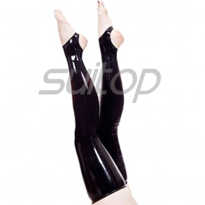Suitop hot selling women's female's rubber latex long stockings in black color