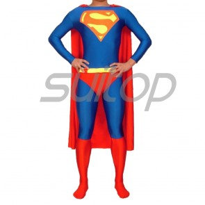 Suitop new arrival men's male's rubber latex uniform superman suit tights (catsuit +cape+shorts)