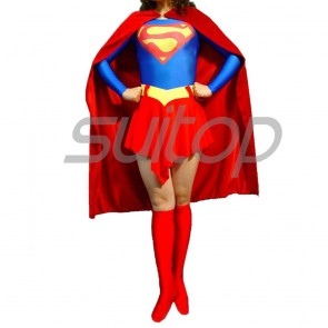 Suitop new arrival women's female's rubber latex supergirl uniform (tops+cape+shorts)for adults cosplay