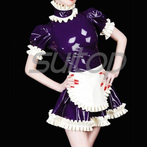 Suitop super quality women's rubber latex tight maid uniform dress in dark purple with white flower trim color