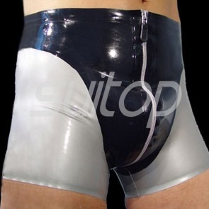 Men's sexy rubber latex boxer short in black and grey