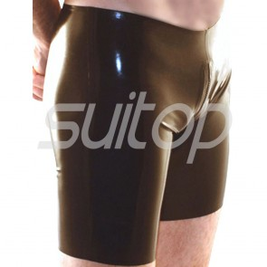 Men's exotic sexy rubber latex boxer short in black with full crotch zip 2 zips