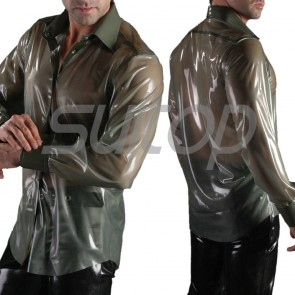 Suitop new arrival men's rubber latex casual long sleeve shirt with front buttons in transparent gray color
