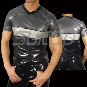 Suitop men's rubber latex short sleeve tight t-shirt with V-neck in gray and black trim color