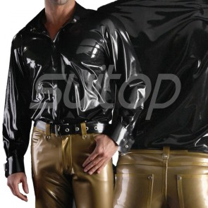 Suitop good quality men's rubber latex casual long sleeve shirt with front buttons in black color