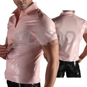 Suitop casual men's rubber latex short sleeve polo t-shirt in baby pink color