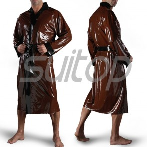 Suitop new item men's rubber bath suit latex bathrobe in dark brown color
