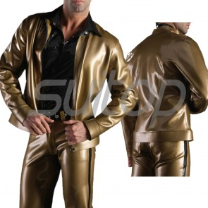 Suitop high quality men's rubber latex casual coat with trousers in metallic gold color