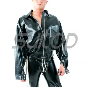 Suitop high quality men's rubber latex casual coat with front zip in black color