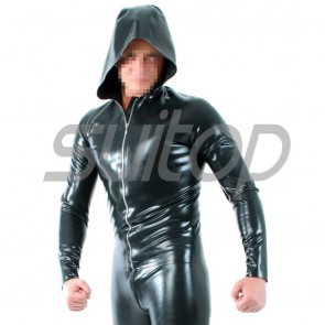 Suitop high quality men's rubber latex modest coat with cap in black color