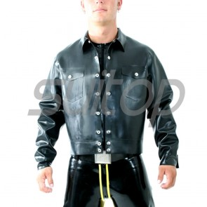 Suitop high quality men's rubber latex casual coat with front buttons in black color