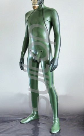 men's latex catsuit with cortch zip in army green and black trim (Mini order 10 pcs)